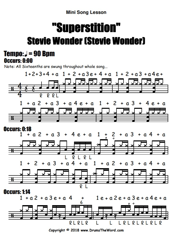 """Superstition"" - (Stevie Wonder) Full Song Video Drum Lesson Notation Chart Transcription Sheet Music Drum Lesson"