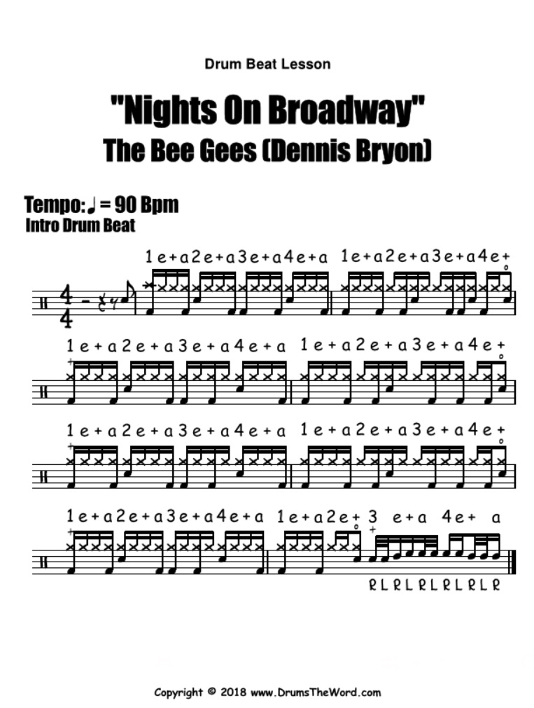 Nights On Broadway (The Bee Gees) - Free PDF drum notation lesson chart transcription (Drum Beat Drum Lesson)
