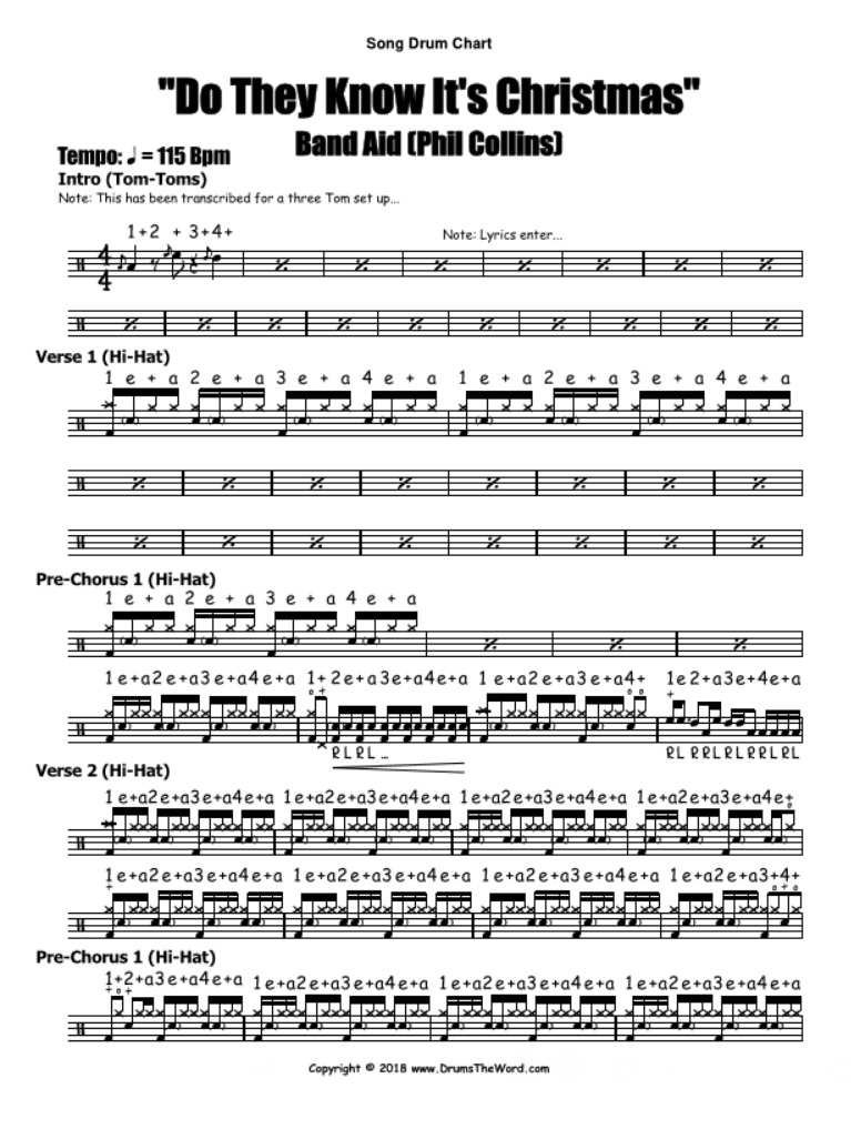 """""""Do They Know It's Christmas"""" - (Band Aid) Drum Solo Notation Chart Transcription Lesson"""