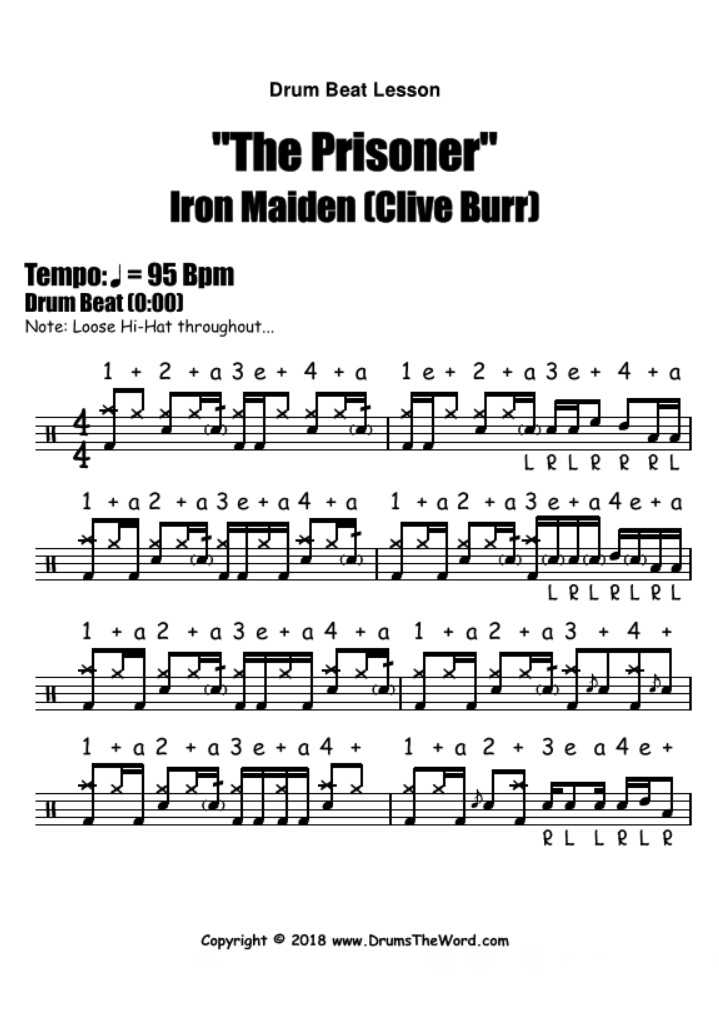 """The Prisoner"" - (Iron Maiden) Drum Beat Notation Chart Transcription Lesson"