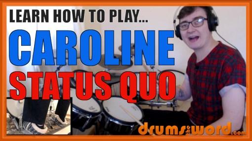 """Caroline"" - (Status Quo) Full-Song Video Drum Lesson Notation Chart Transcription Sheet Music Drum Lesson"