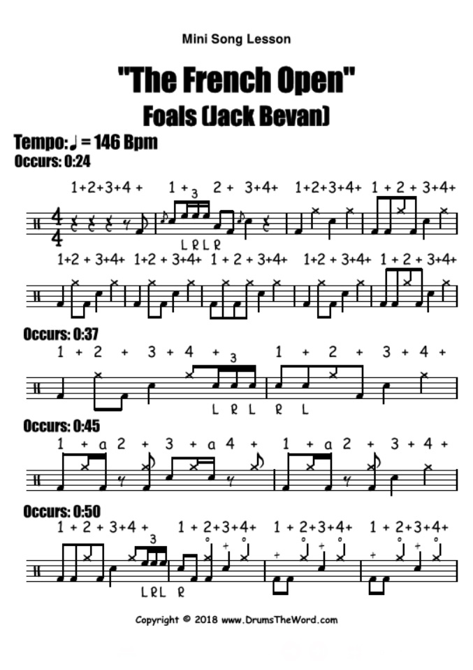 """The French Open"" - (Foals) Mini Song Video Drum Lesson Notation Chart Transcription Sheet Music Drum Lesson"