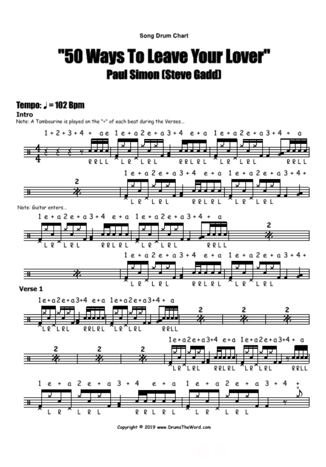 """50 Ways To Leave Your Lover"" - (Paul Simon) Full Song Video Drum Lesson Notation Chart Transcription Sheet Music Drum Lesson"