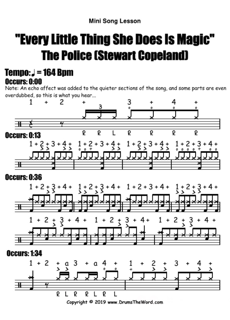 """Every Little Thing She Does Is Magic"" - (The Police) Mini Song Video Drum Lesson Notation Chart Transcription Sheet Music Drum Lesson"
