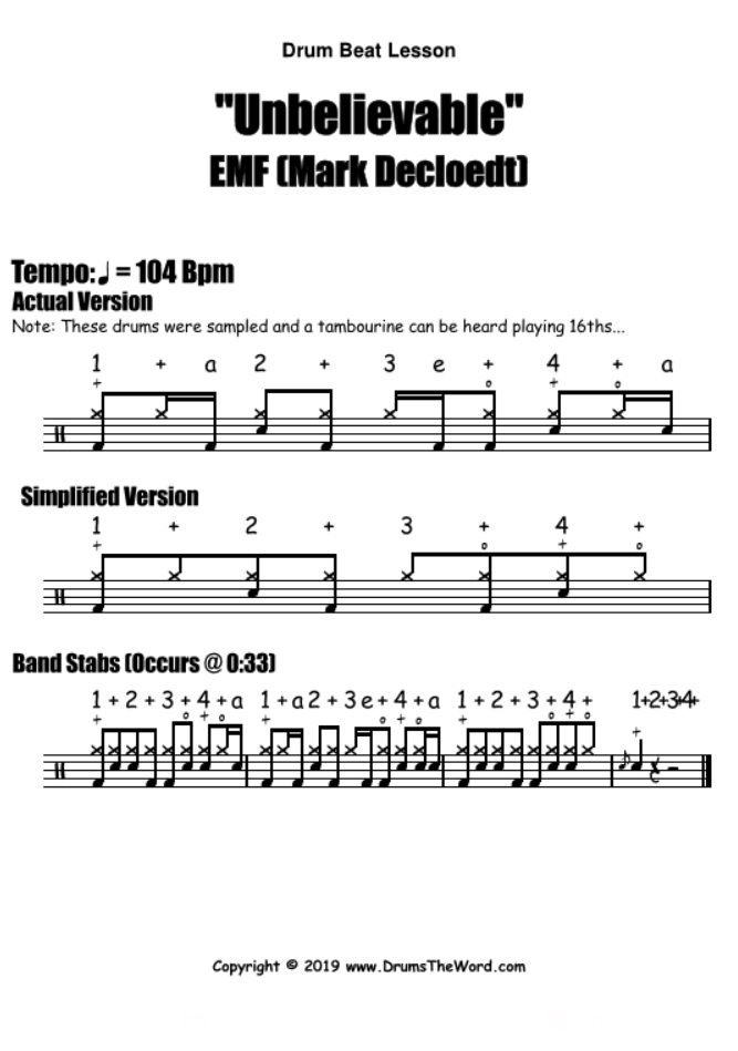 """Unbelievable"" - (EMF) Drum Beat Video Drum Lesson Notation Chart Transcription Sheet Music Drum Lesson"