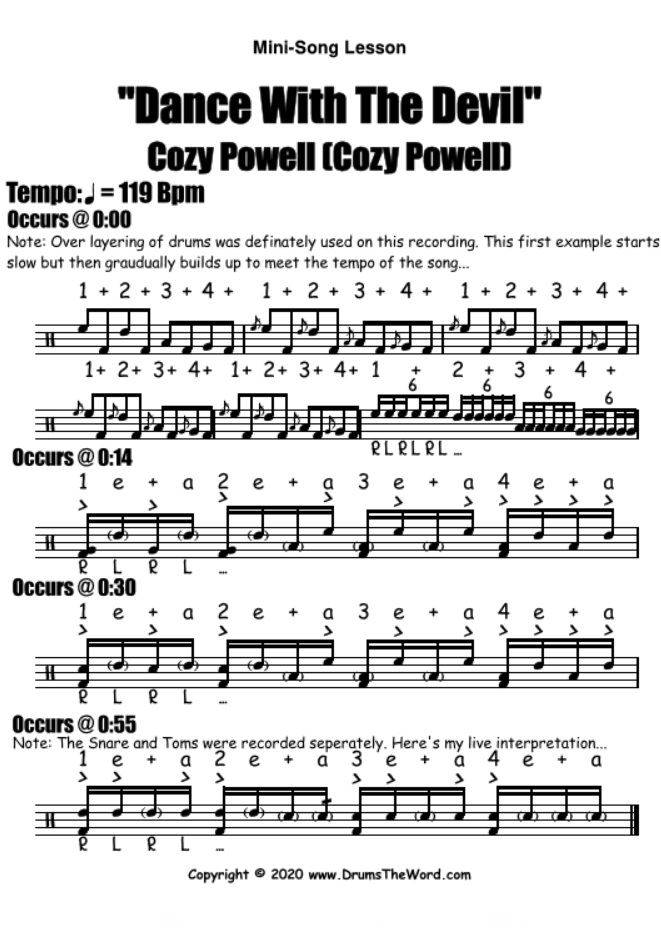 """Dance With The Devil"" - (Cozy Powell) Mini Song Lesson Video Drum Lesson Notation Chart Transcription Sheet Music Drum Lesson"