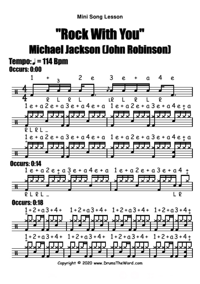 """Rock With You"" - (Michael Jackson) Mini Song Lesson Video Drum Lesson Notation Chart Transcription Sheet Music Drum Lesson"