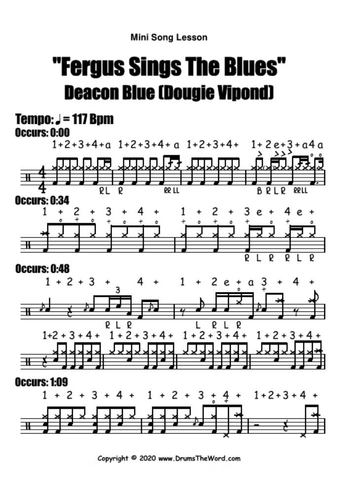 """""""Fergus Sings The Blues"""" - (Deacon Blue) Mini Song Lesson Video Drum Lesson Notation Chart Transcription Sheet Music Drum Lesson"""
