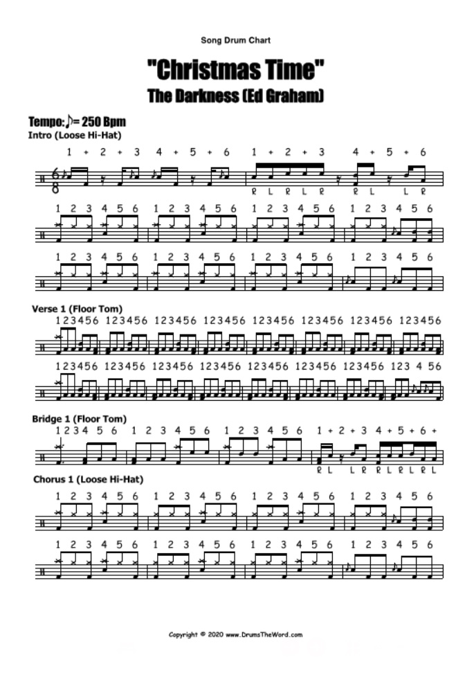 """Christmas Time"" - (The Darkness) Full Song Lesson Video Drum Lesson Notation Chart Transcription Sheet Music Drum Lesson"