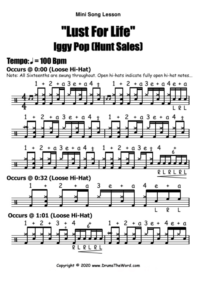 """Lust For Life"" - (Iggy Pop) Mini Song Lesson Video Drum Lesson Notation Chart Transcription Sheet Music Drum Lesson"