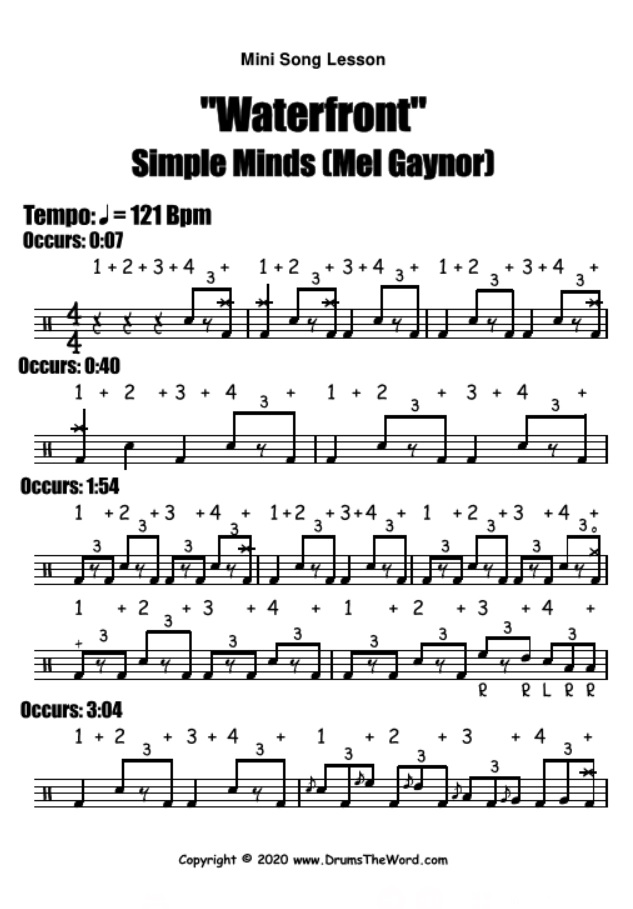 """Waterfront"" - (Mel Gaynor) Mini Song Lesson Video Drum Lesson Notation Chart Transcription Sheet Music Drum Lesson"