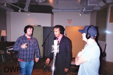 "Cris Driscoll, Nephrok & Dave Brophy laying down backing vocals for ""Don't Take Your Eyes Off of Me"""