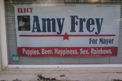 elect amy frey for mayor puppies beer happiness sex rainbows 500x333 elect amy frey for mayor   puppies, beer, happiness, sex, rainbows