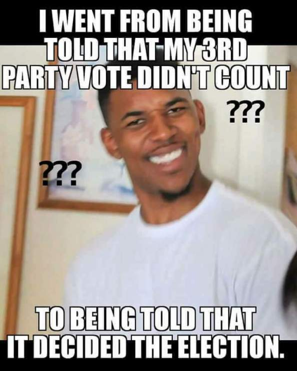 my 3rd party vote didnt count my 3rd party vote didnt count