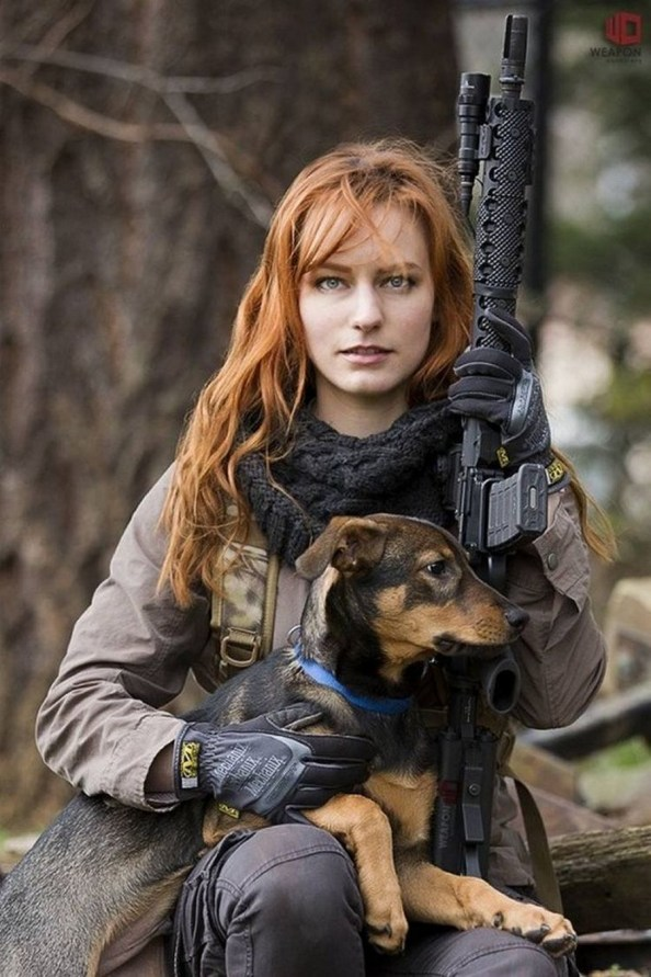 Red head with gun and dog 683x1024 Red head with gun and dog