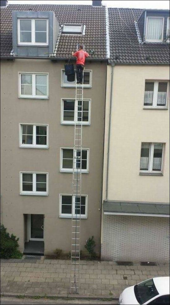 Long Ladder with no ground support Long Ladder with no ground support
