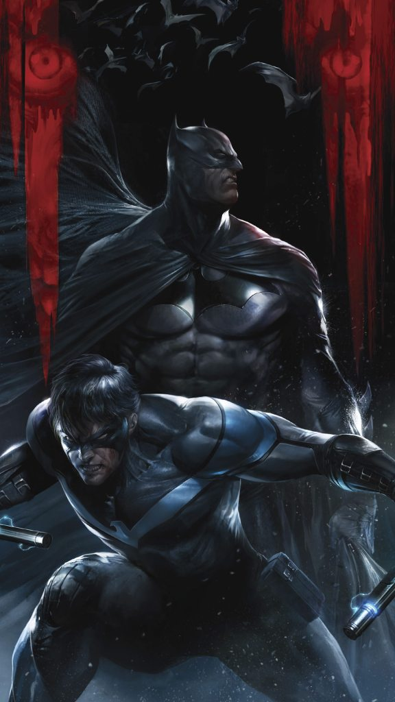 batman and nightwing in the batcave