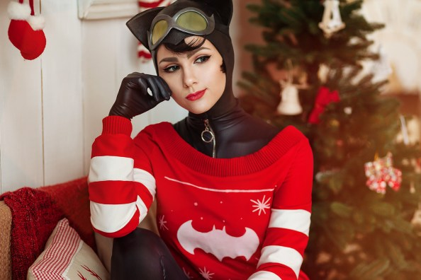 catwoman wondering why batman isn't at home on christmas