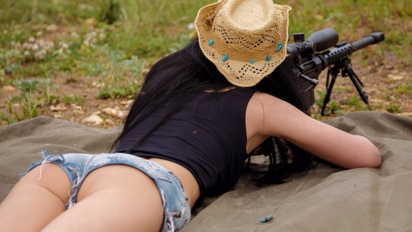 Cowgirl Sniper from the rear