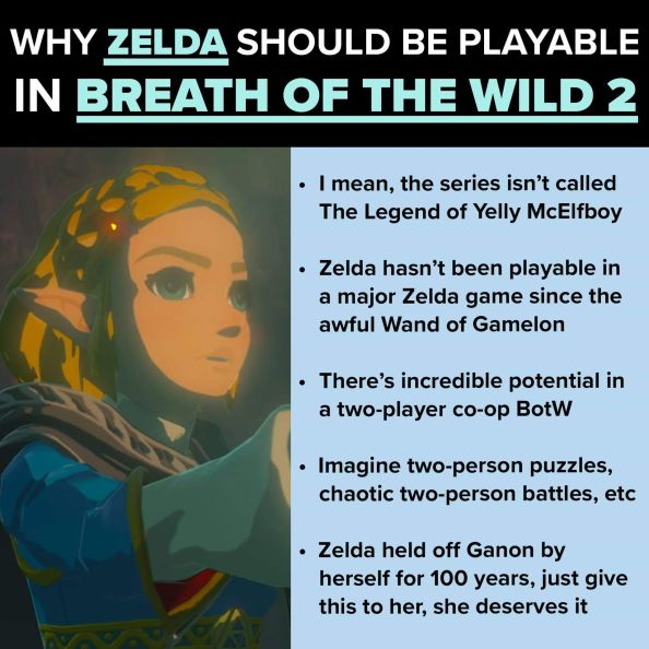why zelda should be playale in breath of the wild 2