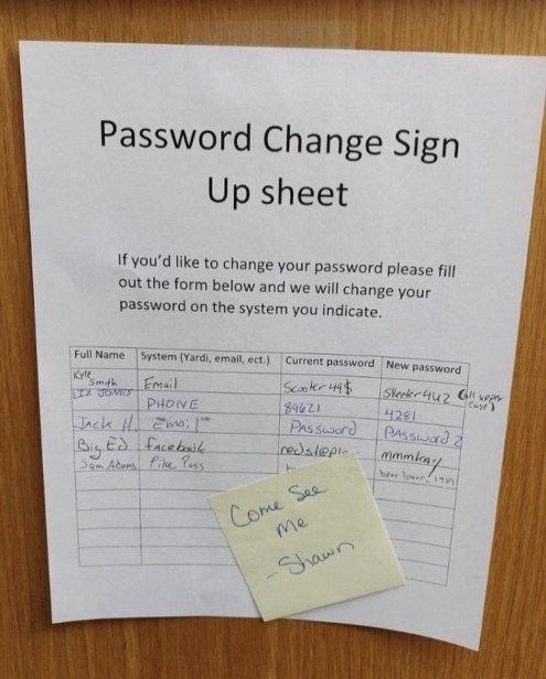 password change sign up sheet