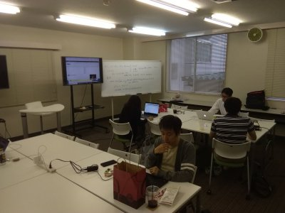 Students seated at two tables during Tokyo GTD event.