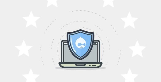 An image of a shield with the Drupal mascot