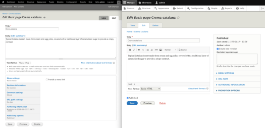 A visual comparison of Drupal 7 and Drupal 8's administration UI