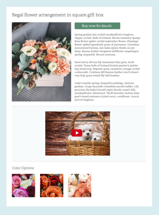 The Drupal 8 Layout Builder showing a templated gift basket with a puppy video