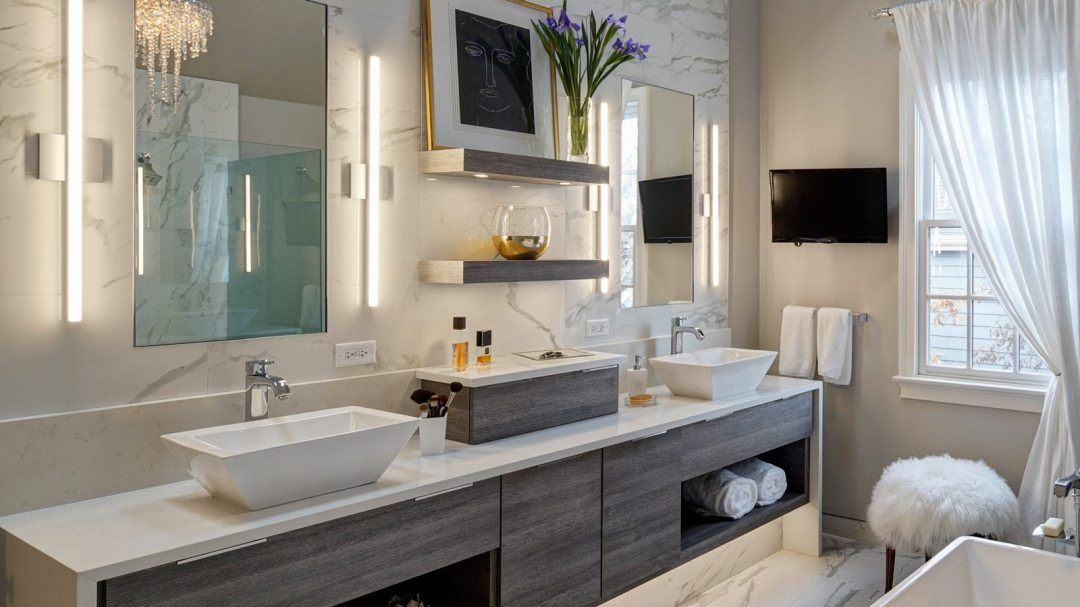 Chic contemporary master bath redesign glen ellyn drury design