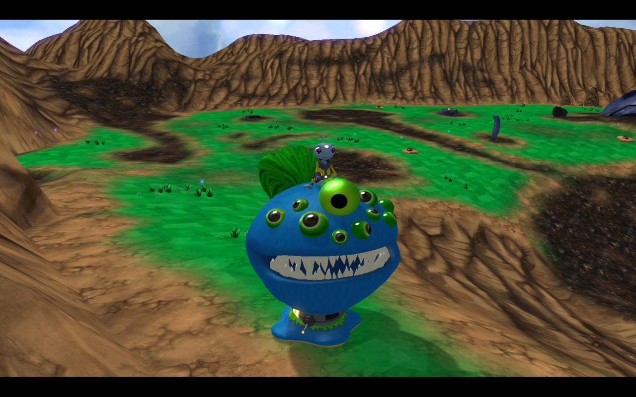 Auf diesem blauen, vieläugigen Maw kann man in der Gegend rumreiten und einfach alles nieder ballern.