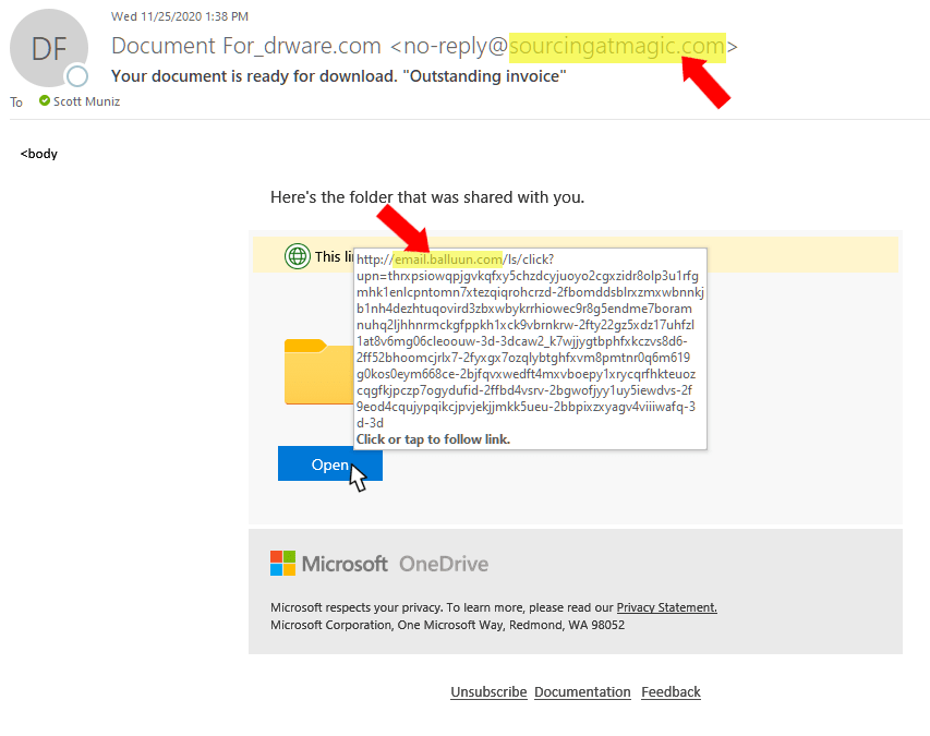 OneDrive Phishing Scam - what to do