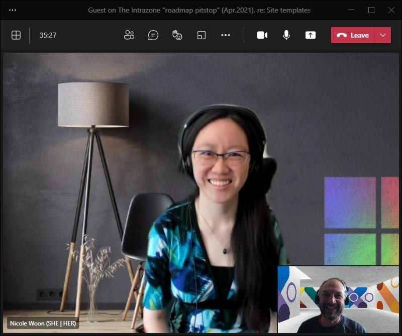 Nicole Woon, program manager at Microsoft [Intrazone guest], with little Mark Kashman [co-host] in the bottom right corner during our interview over Teams.