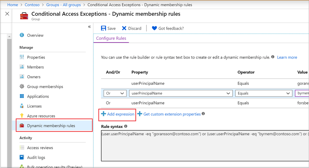 Adding a dynamic membership rule to a group in the Azure Portal