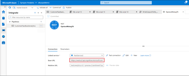 Figure 4: Activity in the data pipeline calling the API in Azure Cognitive Services