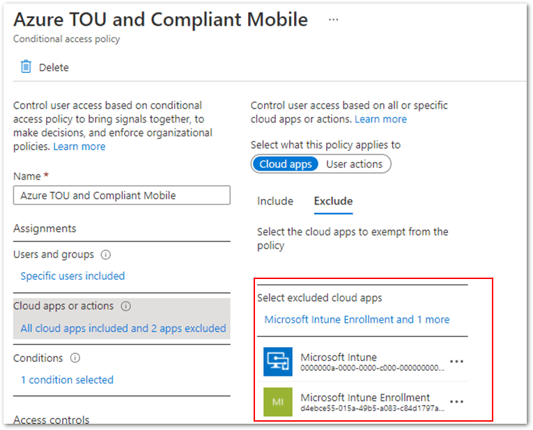 """Example screenshot of excluding """"Microsoft Intune"""" and """"Microsoft Intune Enrollment"""" from the Cloud apps or actions list"""