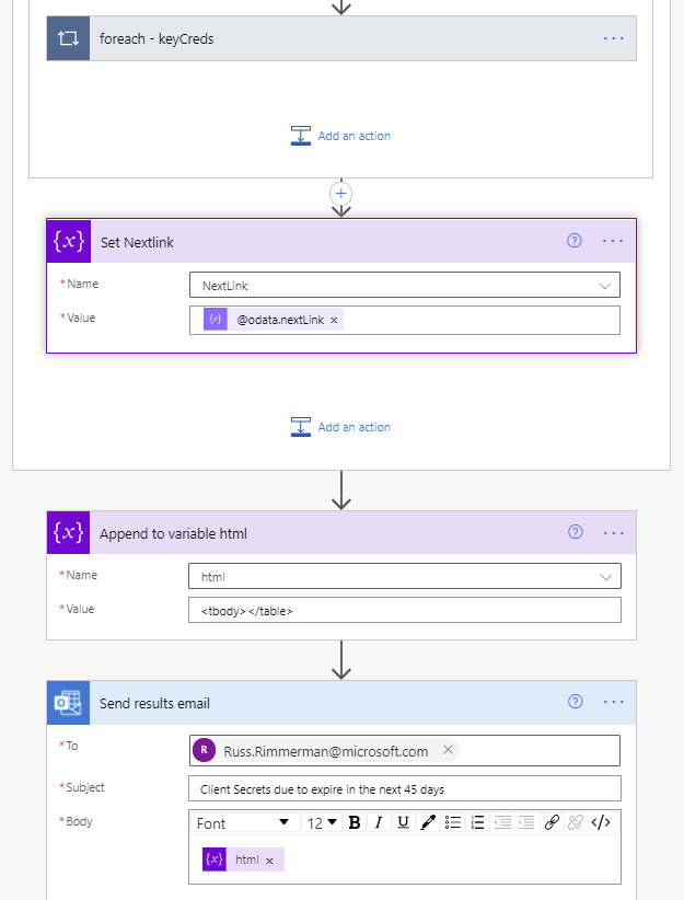End of the flow including send email