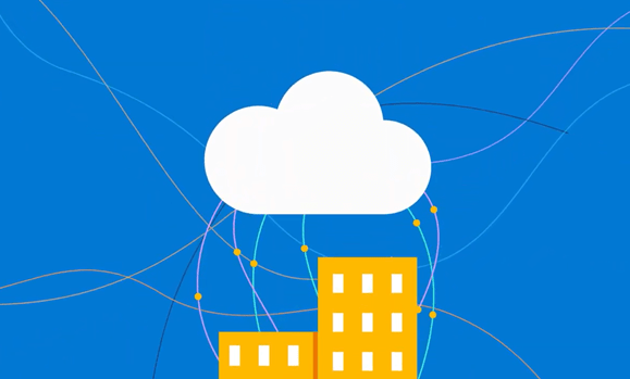 Image of a building connecting to a cloud
