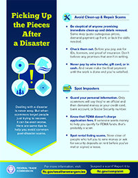 Graphic listing ways to pick up the pieces after a disaster