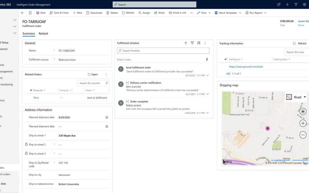 Dynamics 365 Intelligent Order Management enables fulfillment optimization and supply chain resiliency