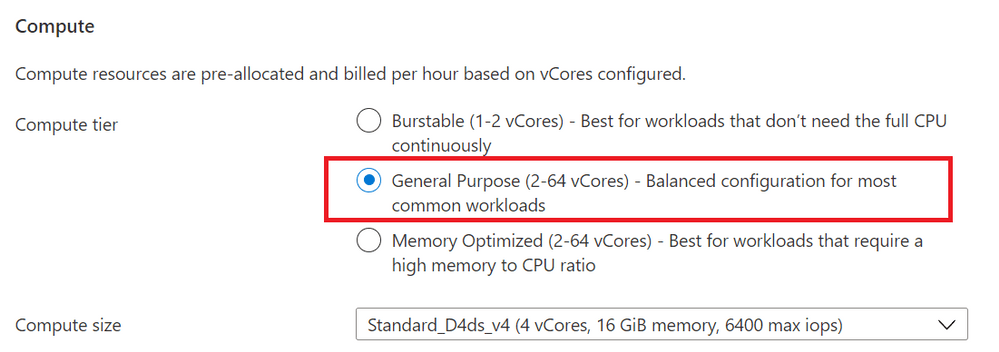 Figure 1: Screenshot from the Azure Portal, of the provisioning workflow for the Flexible Server option in Azure Database for PostgreSQL Compute + Storage blade. This is where you can select the compute tier (General purpose / Memory Optimized)