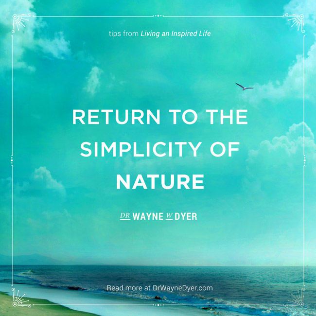 """Return to the simplicity of nature"" — Dr. Wayne Dyer #simplicity #mindfulness #quotes #wayne #dyer"
