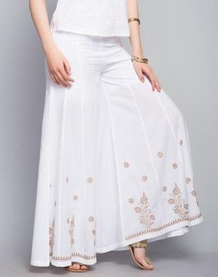 Cotton Panelled Chikankari Embroidery Palazzo