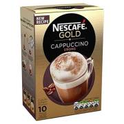 Nescafe Gold Cappuccino Strong Instant Coffee Sachets, 14.5g (Pack Of 10)