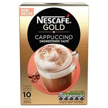 Nescafe Gold Cappuccino Unsweetened Instant Coffee Sachets (Imported), 14.2g (Pack Of 10)