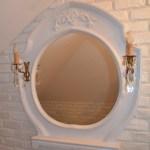 Drewniane lustro lazienkowe w bialym kolorze