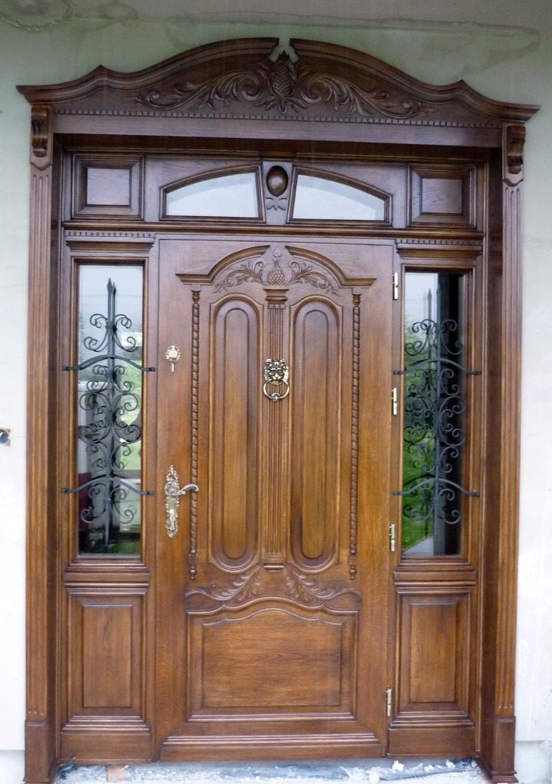 Drzwi zewnętrzne dębowe ręcznie wykonane