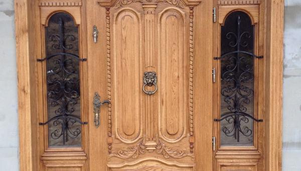 Drzwi wejściowe dębowe ręcznie robione i zdobione