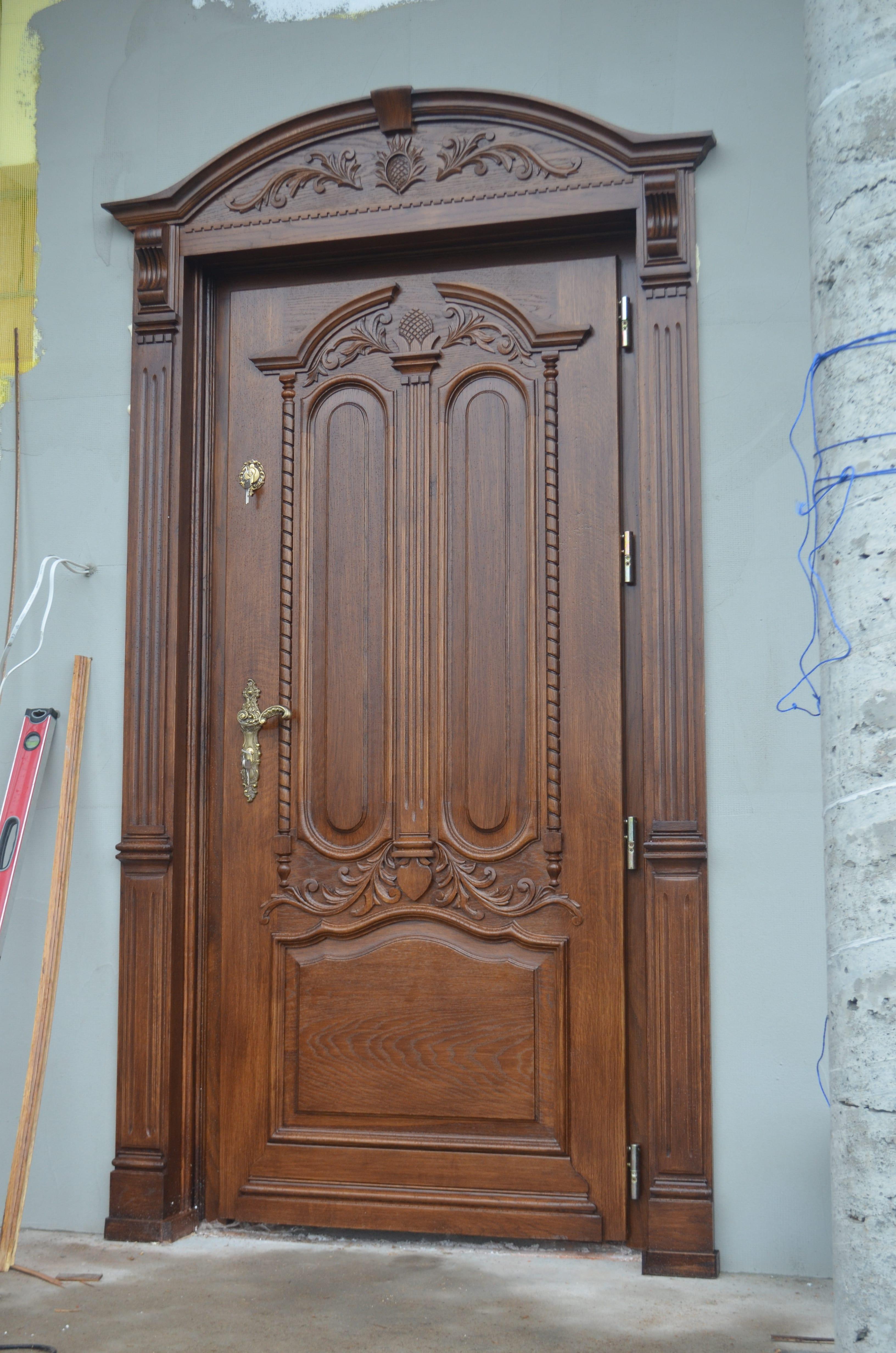 Drzwi zewnętrzne dębowe ręcznie wykonane – proste