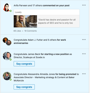 LinkedIn profile notifications